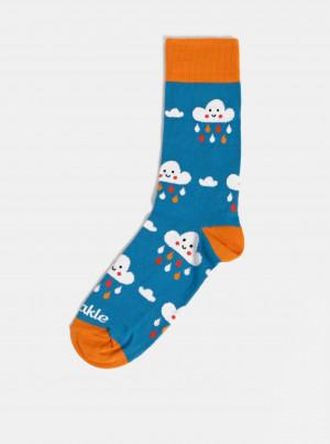 Modré dámské vzorované ponožky Fusakle Mraky - 43-46