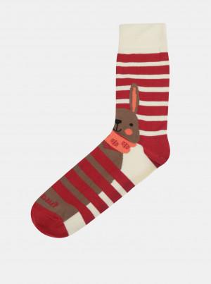 Krémovo-červené ponožky Fusakle Jen počkej, zajíci - 43-46