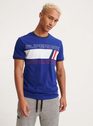 Modré pánské tričko s potiskem Superdry