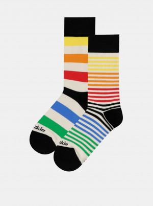 Krémové pruhované ponožky Fusakle Extrovert farebny - 39-42