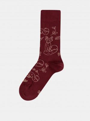 Vínové vzorované ponožky Fusakle Lišák v lese - 39-42