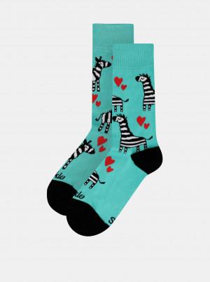 Zelené vzorované ponožky Fusakle Zebra - 43-46