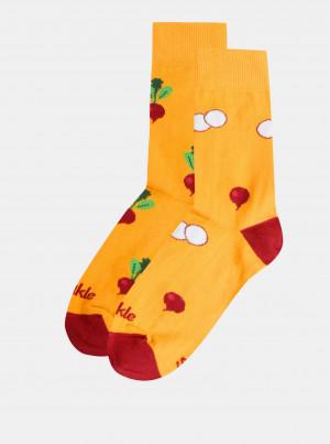 Žluté vzorované ponožky Fusakle Ředkvička - 43-46