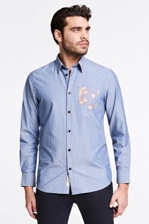Guess bledě modrá pánská košile Triangle Logo
