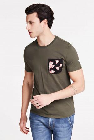 Guess khaki pánské tričko Printed Pocket