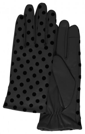 Ichi černé puntíkované rukavice A Fiona - M/L