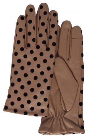 Ichi hnědé puntíkované rukavice A Fiona - XS/S