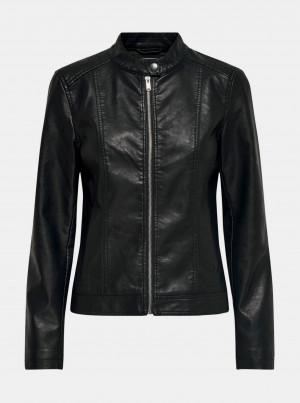 Černá koženková bunda Jacqueline de Yong Stormy