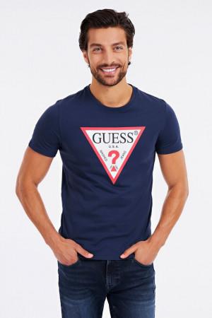 Guess modré tričko Triangle Logo s logem