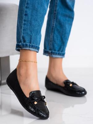 Stylové černé dámské  mokasíny bez podpatku