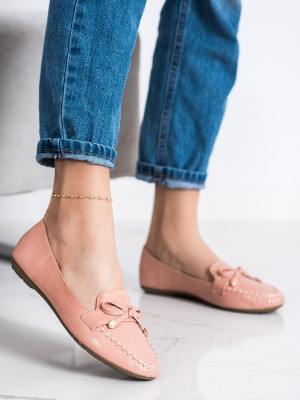 Zajímavé  mokasíny dámské růžové bez podpatku