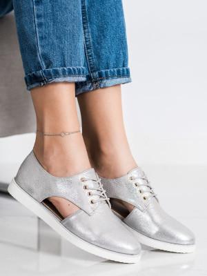 Designové šedo-stříbrné  polobotky dámské bez podpatku