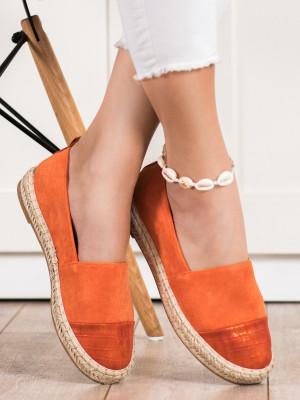 Praktické dámské  polobotky oranžové bez podpatku