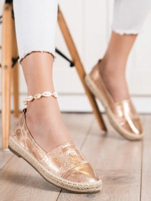 Klasické dámské zlaté  polobotky bez podpatku