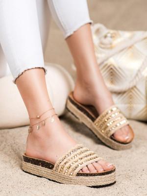 Trendy  nazouváky dámské zlaté bez podpatku