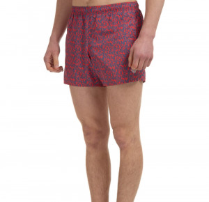 Pánské plavecké boxerky 211746 1P434 14862 červené s potiskem - Emporio Armani červená vzor