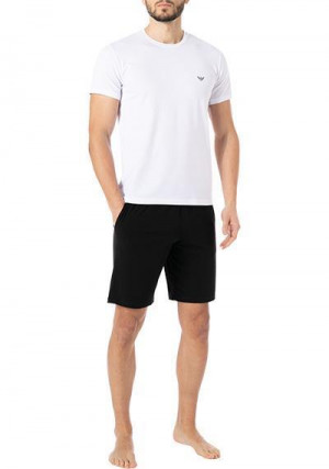 Pánské pyžamo 111573 1P720 11010 černo/bílé - Empori Armani černo - bílá