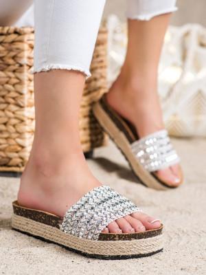 Pohodlné  nazouváky šedo-stříbrné dámské bez podpatku