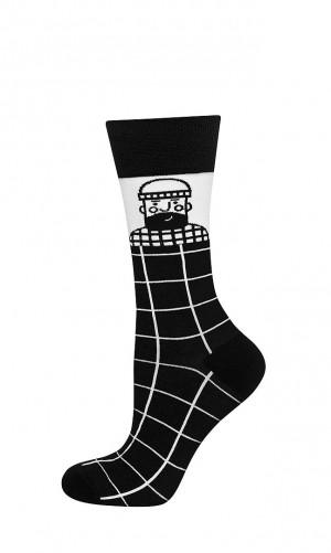 Pánské ponožky Soxo Good Stuff černo-bílé Černá 40-45