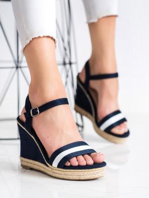 Pěkné  sandály modré dámské na klínku
