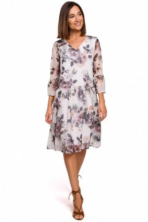Dámské šaty S214 - Stylove bílá s květinovým vzorem L-40