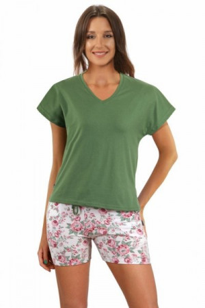 Sesto Senso 2508/11 Dámské pyžamo XXL zelená/vzor