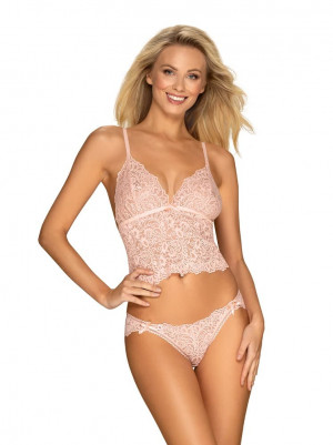 Úžasná souprava Delicanta top & panties pink - Obsessive růžová S/M