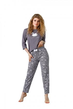 Dámské pyžamo MILANA 1085 ŠEDÁ PERLA 2XL