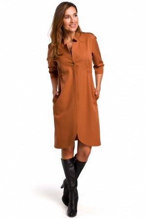 Dámské šaty S189 - Stylove hnědá XL-42