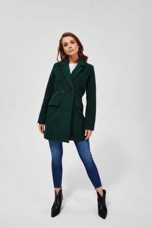 Moodo lahvově zelený podzimní kabát