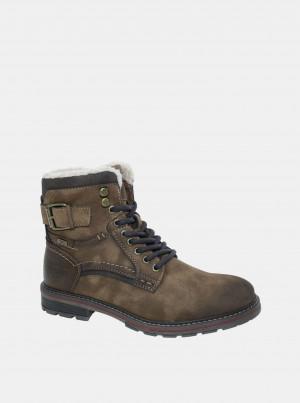 Hnědé pánské zimní kotníkové boty v semišové úpravě Tom Tailor -
