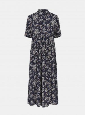 Tmavě modré květované košilové midi šaty Pieces Darling