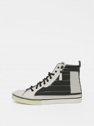 Černo-bílé pánské kotníkové tenisky s koženými detaily Diesel -