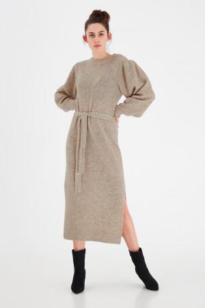 Ichi béžové svetrové šaty IhJordan DR Oatmeal Melang