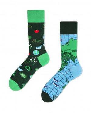 Many Mornings zelené ponožky Save The Planet - 35-38