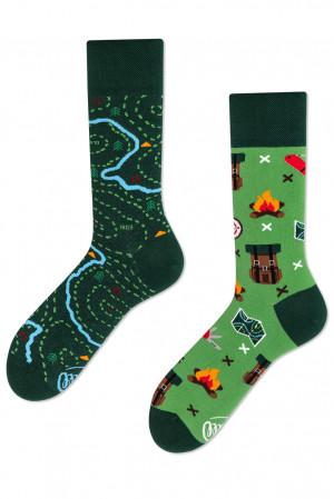 Many Mornings zelené ponožky The Map - 39-42