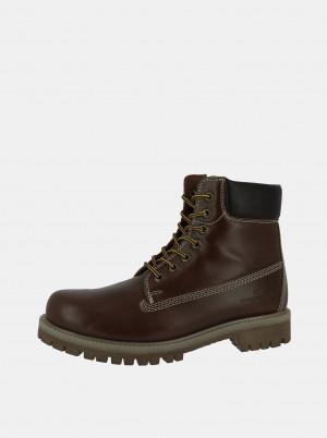 Tmavě hnědé pánské kožené kotníkové boty Tom Tailor -