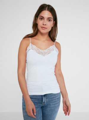 Pieces bílý dámský top Toloa - L-XL