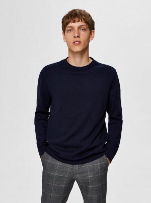 Selected Homme tmavě modrý basic pánský svetr Berg