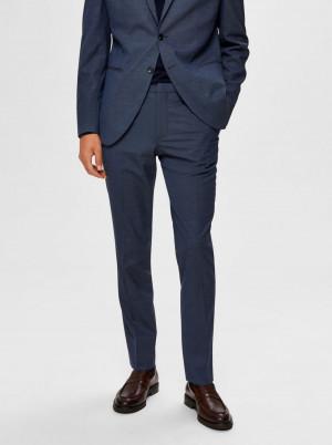 Selected Homme modré slim fit pánské kalhoty Mazelogan