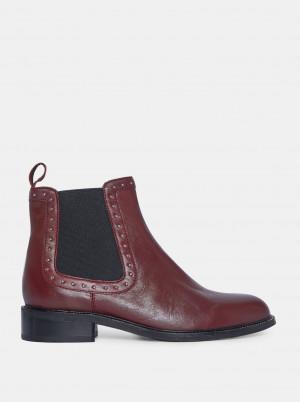 Vínové kožené chelsea boty Dorothy Perkins -