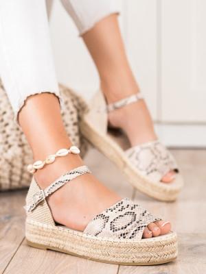Krásné  sandály dámské se zvířecím motivem bez podpatku