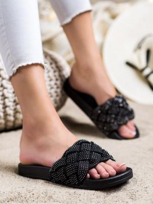 Originální černé  nazouváky dámské bez podpatku
