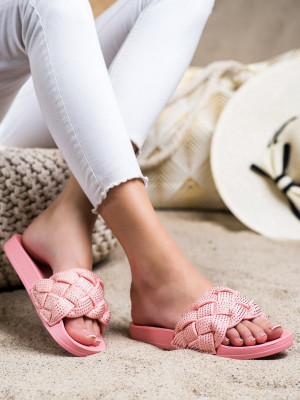 Designové  nazouváky dámské růžové bez podpatku