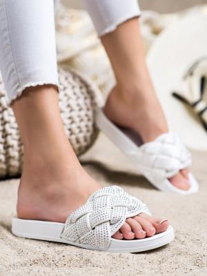 Exkluzívní dámské  nazouváky bílé bez podpatku