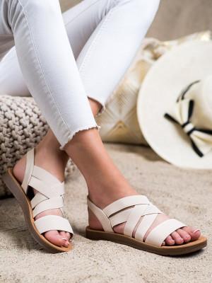 Krásné dámské hnědé  sandály bez podpatku