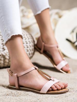 Trendy  sandály dámské růžové bez podpatku
