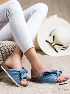 Komfortní  nazouváky modré dámské bez podpatku