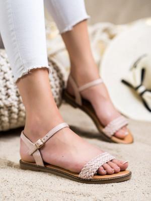 Stylové  sandály dámské hnědé bez podpatku
