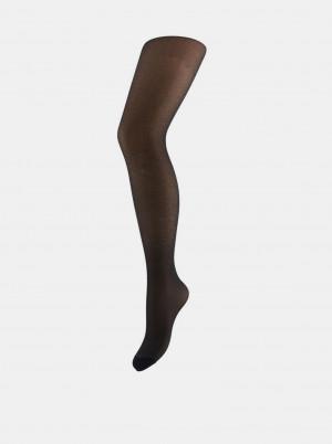 Černé třpytivé punčochové kalhoty Pieces - S-M